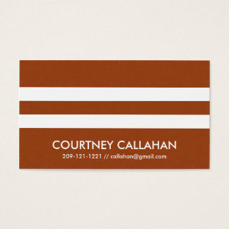 Chic burnt orange double stripe business cards