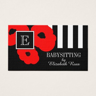 Professional Business CHIC BUSINESS CARDS_MOD 01 RED POPPIES BUSINESS CARD