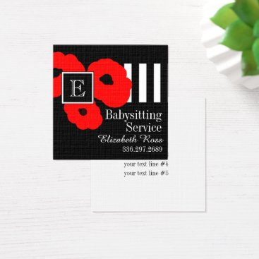 Professional Business CHIC BUSINESS CARDS_MOD 01 RED POPPIES SQUARE BUSINESS CARD