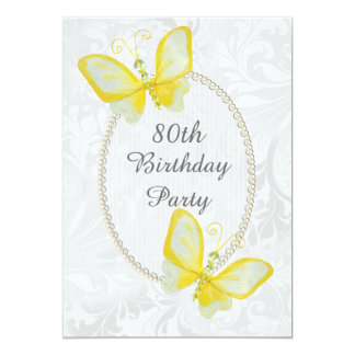 Chic Butterflies Damask 80th Birthday Double Sided Card