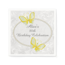 Chic Butterflies Damask 80th Birthday Personalized Napkin