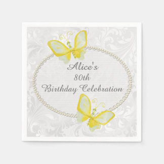 Chic Butterflies Damask 80th Birthday Personalized Standard Cocktail Napkin
