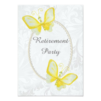 Chic Butterflies Damask Retirement Double Sided Card