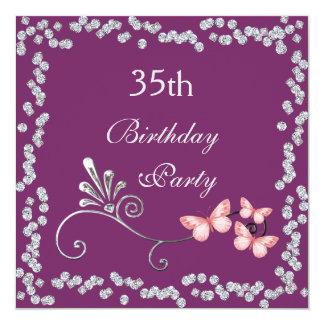 Chic Butterflies & Diamonds 35th Birthday Card