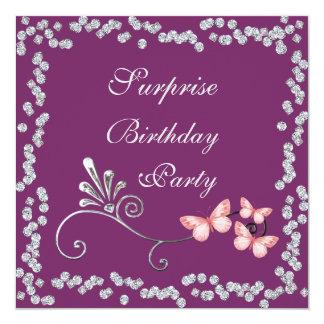 Chic Butterflies & Diamonds Surprise Birthday Invitation