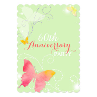 Chic Butterfly 60th Wedding Anniversary Party 5x7 Paper Invitation Card
