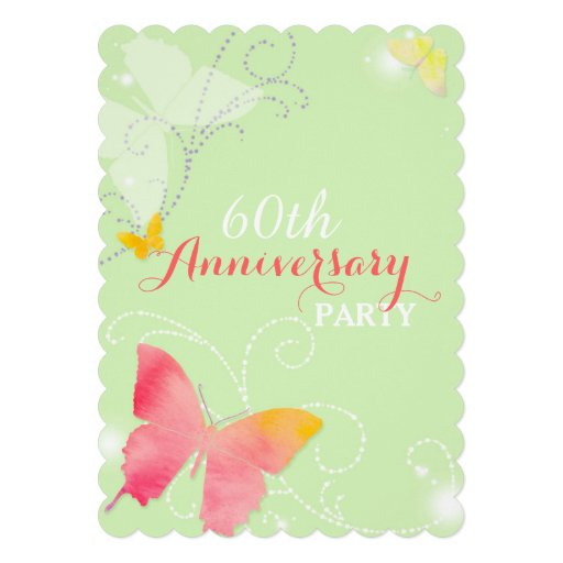 Chic Butterfly 60th Wedding Anniversary Party Custom Invite