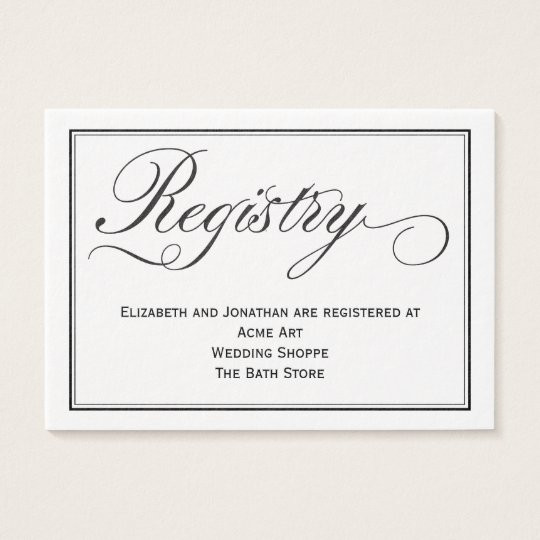 Chic calligraphy script wedding registry card zazzle for Best stores for wedding registry