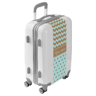 Chic Camel Chevrons Polka Dots Baby Blue Luggage
