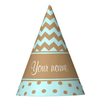 Chic Camel Chevrons Polka Dots Baby Blue Party Hat