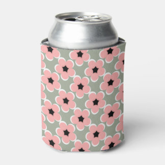 CHIC CAN COOLER_BLUSH PINK/BLACK/WHITE FLORAL CAN COOLER