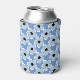 CHIC CAN COOLER_MODERN 21 BLUE/BLACK/WHITE FLORAL CAN COOLER