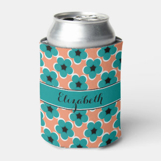 CHIC CAN COOLER_MODERN TURQUOISE/BLACK FLORAL CAN COOLER