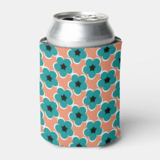 CHIC CAN COOLERMODERN TURQUOISE/BLACK FLORAL CAN COOLER