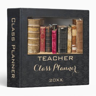 Chic Chalkboard Damask Custom Photo Teacher Binder