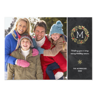 Chic Chalkboard | Faux Gold Foil Holiday Photo Card