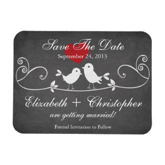 Chic Chalkboard Love Birds Save The Date Magnet