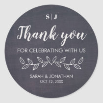 Chic Chalkboard Monogram Thank You Wedding Favor Classic Round Sticker