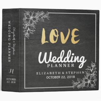 Chic Chalkboard White Floral Frame Wedding Planner 3 Ring Binder
