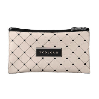 Chic Champagne Pink and Black French Style Bonjour Cosmetics Bags
