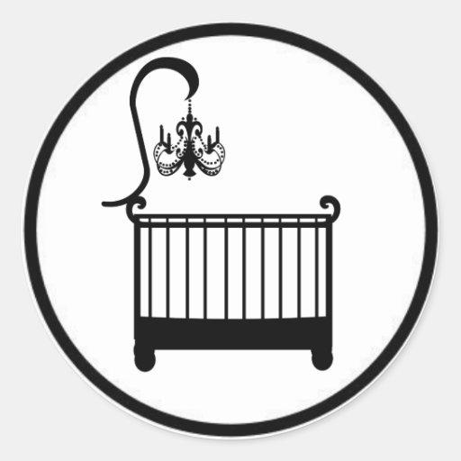 Chic Chandelier Crib Baby Shower Envelope Seal Classic Round Sticker