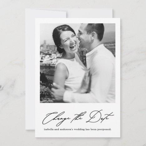 Chic Change the Date Wedding Postponement Photo Announcement