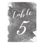 CHIC CHARCOAL WATERCOLOR TABLE NUMBER CARDS