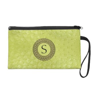 Chic Chartreuse Ostrich Skin Look & Monogram