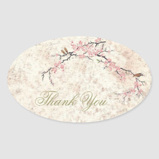 chic cherry Blossom Country wedding thank you Oval Sticker