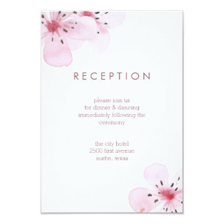 Chic Cherry Blossoms Wedding Reception Card