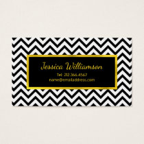 Chic Chevron Black, White and Gold Business Card