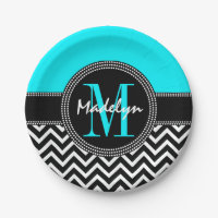 Chic Chevron Bright Aqua Birthday Monogram Paper Plate