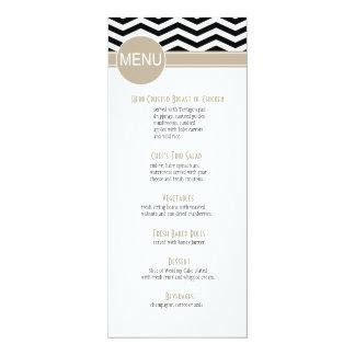 Chic Chevron Dinner Menu | black Card