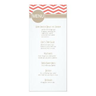 Chic Chevron Dinner Menu | coral Card