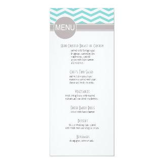 Chic Chevron Dinner Menu | teal Card
