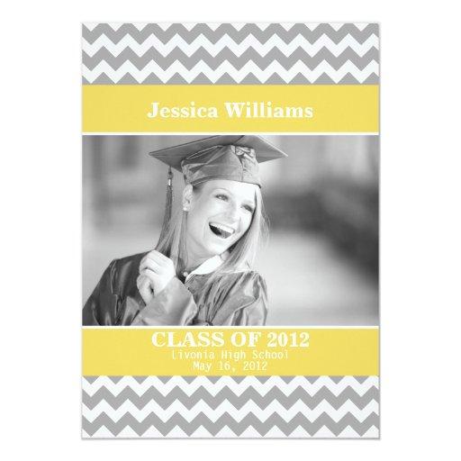 Chic Chevron Graduation Personalized Invites