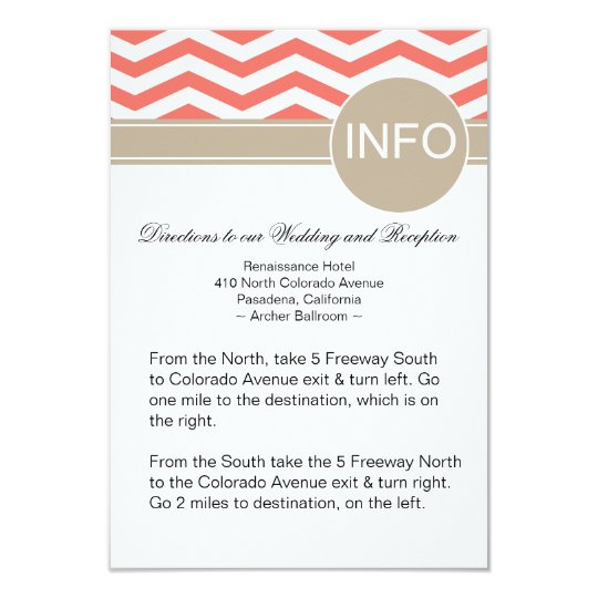 Chic Chevron Info Wedding Directions | coral Card