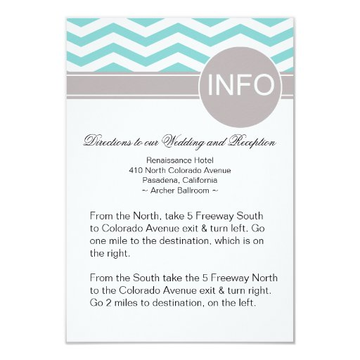 Chic Chevron Info Wedding Directions | teal 3.5x5 Paper Invitation Card