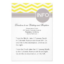 Chic Chevron Info Wedding Directions | yellow Invites