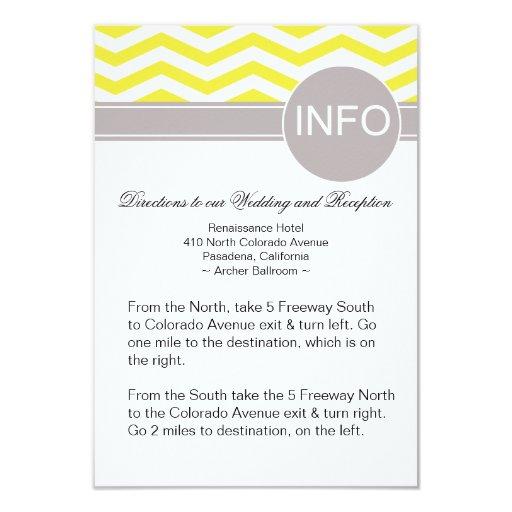 Chic Chevron Info Wedding Directions | yellow 3.5x5 Paper Invitation Card