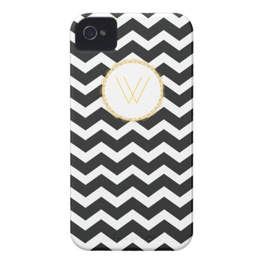Chic Chevron iPhone Case Black & White w/ Initial