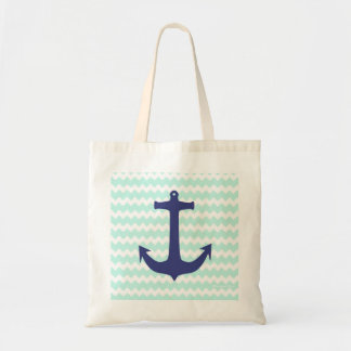Chic Chevron Mint Blue Anchor Bag