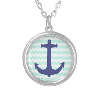 Chic Chevron Mint Blue Anchor Necklace