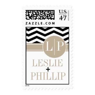 Chic Chevron Monogram | black Postage Stamp