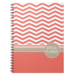 Chic Chevron Monogram | coral Bridal Planner Notebook