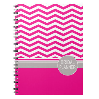 Chic Chevron Monogram | fuschia Bridal Planner Notebook