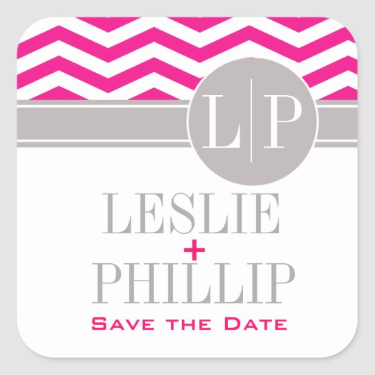 Chic Chevron Monogram | fuschia Square Sticker