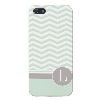 Chic Chevron Monogram | mint Cover For iPhone 5