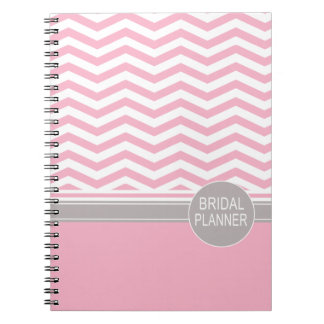 Chic Chevron Monogram | pink Bridal Planner Spiral Notebook