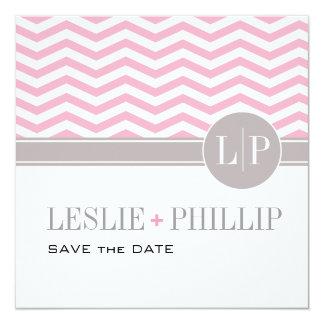 Chic Chevron Monogram Save the Date | pink Card